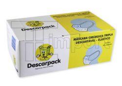 Máscara Cirúrgica Tripla com Elástico Cx c/ 50 unids - Descarpack