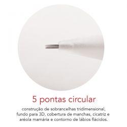 Agulha 5 pontas Circular - Caixa com 10 unid. - Dermomag