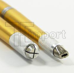 Caneta Tebori Aluminio (Ponta Dupla) Dourada e Prata - Ref.1295 - LANÇAMENTO