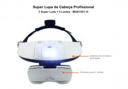 Super Lupa De Cabeça Profissional - MG81001-G 2 Super Leds + 5 Lentes -