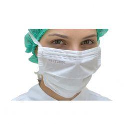 Mascara Cirurgica Tripla  com Elastico BRANCA -Pct 50 unids - ProtDesc (PROMOCAO)