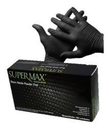 Luva de Nitrilo (M)-BLACK  S/PO- Supermax - Cx c/ 100 unids