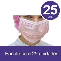 Mascara Cirurgica Tripla com Elastico ROSA - Pct 25 unids - ProtDesc