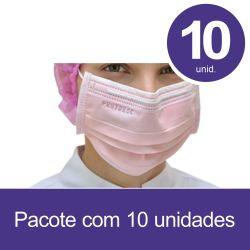 Mascara Cirurgica Tripla com Elastico ROSA - Pct 10 unids - ProtDesc
