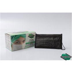 Mascara Cirurgica  Tripla  com Elastico BLACK - Pct 50 unids - ProtDesc (PROMOCAO)