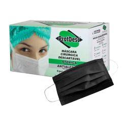 Mascara Preta c/10 Unid -Cirurgica Tripla com Elastico  ProtDesc