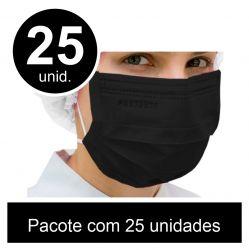 Mascara Preta c/25 Unid -Cirurgica Tripla com Elastico  ProtDesc